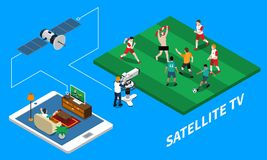 Telecommunication Isometric Composition. Telecommunication satellite tv isometric composition with live streaming of football match on blue background 3d vector Stock Photography