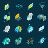 Telecommunication Isometric Icons Set Stock Photo