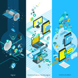 Telecommunication Isometric Vertical Banners Royalty Free Stock Images