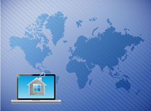 Telecommunication laptop home world map Royalty Free Stock Photos