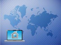 Telecommunication laptop home world map. Illustration design Royalty Free Stock Photos