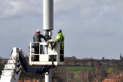 Telecommunication Mast Being Repaired Royalty Free Stock Images