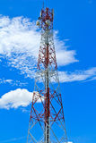 Telecommunication mast with microwave link Stock Photos