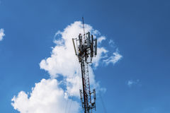 Telecommunication mast with microwave Royalty Free Stock Photo
