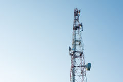 Telecommunication mast with microwave link and TV transmitter an Stock Photography