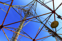 Telecommunication mast with microwave link Royalty Free Stock Photos