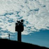 Telecommunication mast TV antennas silhouette Royalty Free Stock Images