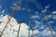 Telecommunication and mobile tower. On sky background Royalty Free Stock Photography