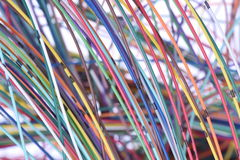Telecommunication multicolored network cable Stock Photography