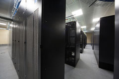 Telecommunication racks in the server room Stock Image