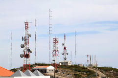 Telecommunication and radar near Foia, Portugal Royalty Free Stock Photo