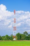 Telecommunication Radio Antenna and Satelite Tower. With blue sky with cloud and green field Royalty Free Stock Image