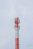 Telecommunication Radio Antenna and Satelite Tower with a sunlig Royalty Free Stock Image