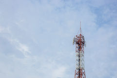 Telecommunication Radio Antenna and Satelite Tower with a sunlig Stock Images