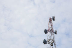 Telecommunication Radio Antenna and Satelite Tower with a sunlig Royalty Free Stock Images