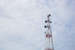 Telecommunication Radio Antenna and Satelite Tower with a sunlight Stock Images