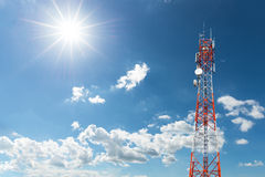 Telecommunication Radio Antenna and Satellite Tower. With blue sky Royalty Free Stock Photo