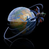 Telecommunication satellite around Earth Royalty Free Stock Photos