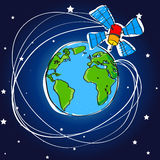 Telecommunication satellite around the earth Royalty Free Stock Image