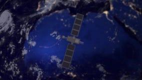 Telecommunication satellite over Africa stock video