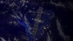Telecommunication satellite over South America Stock Image