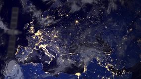 Telecommunication satellite survailence spy over Europe Stock Image