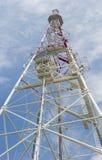 Telecommunication steel lattice tower against the sky Stock Photo