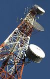 Telecommunication tower. With rich blue sky Stock Image