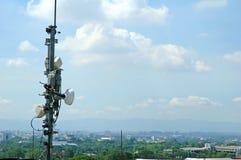 Telecommunication tower. On blue sky background Stock Photography