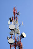 Telecommunication tower. With antennas on blue sky Royalty Free Stock Photography