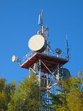 Telecommunication tower. With different antennas stock photo