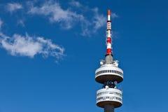 Telecommunication tower. Snejanka in winter resort Pamporovo Bulgaria Stock Photos