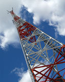 Telecommunication tower. Nice red & white tower & beautiful sky Stock Photography