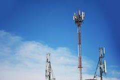 Telecommunication tower Antenna. And communication Royalty Free Stock Photo