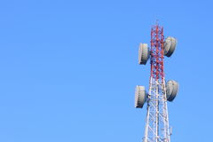 Telecommunication tower with antennas Royalty Free Stock Photos