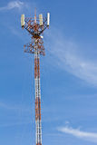 Telecommunication tower with antennas on blue sky Stock Images