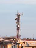 Telecommunication tower with antennas Royalty Free Stock Image