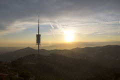 Telecommunication tower in Barcelona, Spain Royalty Free Stock Photography