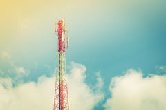 Telecommunication tower with beautiful sky . ( Filtered image pr Royalty Free Stock Photography