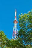 Telecommunication tower. On the blue sky royalty free stock photo