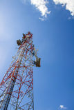 Telecommunication tower and blue sky Stock Photos