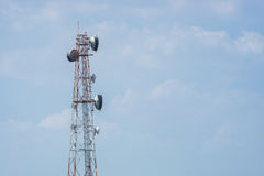 Telecommunication tower with blue sky background. Stock Photography