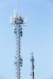 Telecommunication tower on blue sky Royalty Free Stock Photos