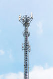Telecommunication tower on blue sky Royalty Free Stock Photo