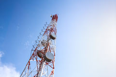 Telecommunication tower with blue sky Stock Image