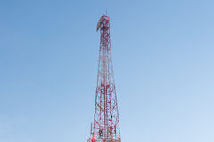 Telecommunication tower and blue sky Royalty Free Stock Image