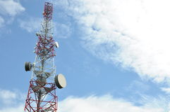 Telecommunication tower with cell phone antenna system Royalty Free Stock Photography