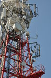 Telecommunication tower with cell phone antenna system Royalty Free Stock Image