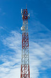 Telecommunication tower with cell phone antenna system. 3g thailand Royalty Free Stock Photos