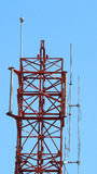 Telecommunication tower closeup. Royalty Free Stock Images